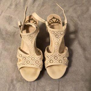 Used Fergalicious White lace wedges